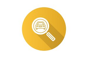 Magnifying glass with car flat design long shadow glyph icon