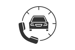 Taxi ordering glyph icon