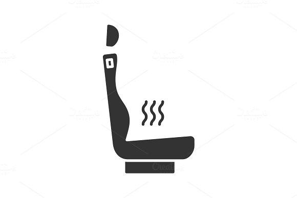Heated Car Seat Glyph Icon