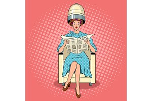 Woman with hair dryer pop art vector
