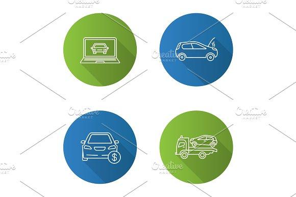 Auto Workshop Flat Linear Long Shadow Icons Set