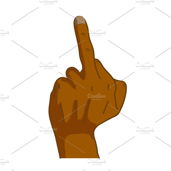 Black Hand In Middle Finger Gesture