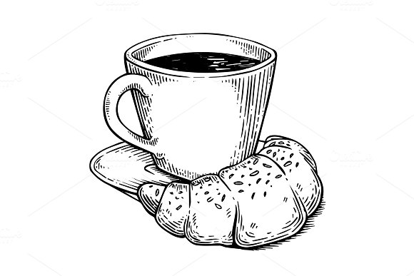 Coffee And Croissant Engraving Vector