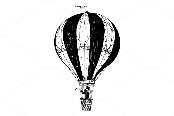 Vintage Air Balloon Engraving Vector Illustration