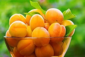 Ripe beautiful apricots.