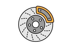 Disc brake with caliper color icon