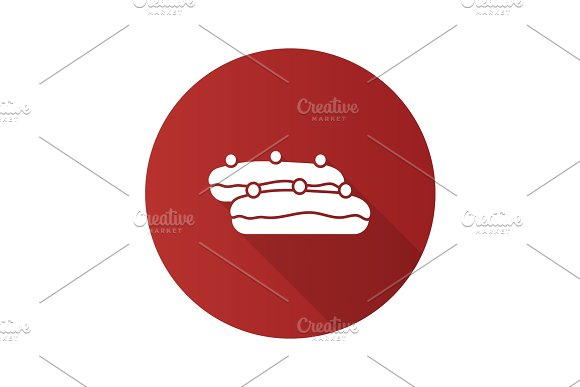 Eclair Cake Flat Design Long Shadow Glyph Icon