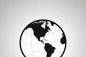 America's hemisphere of globe icon