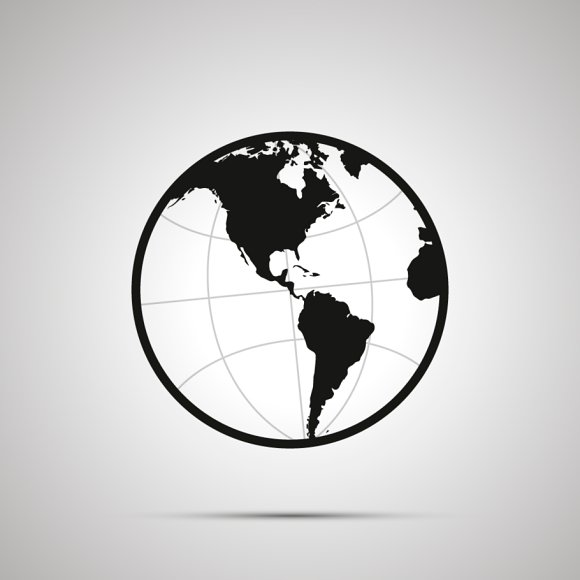America's Hemisphere Of Globe Icon