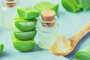 Aloe Vera extract in a small bottle