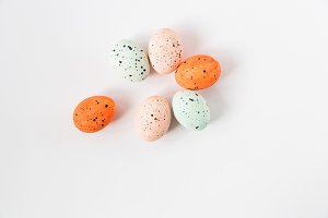 Easter composition from marbled eggs