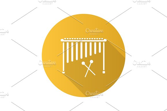 Marimba Flat Design Long Shadow Glyph Icon