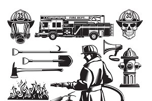 Vintage Firefighting Elements Set