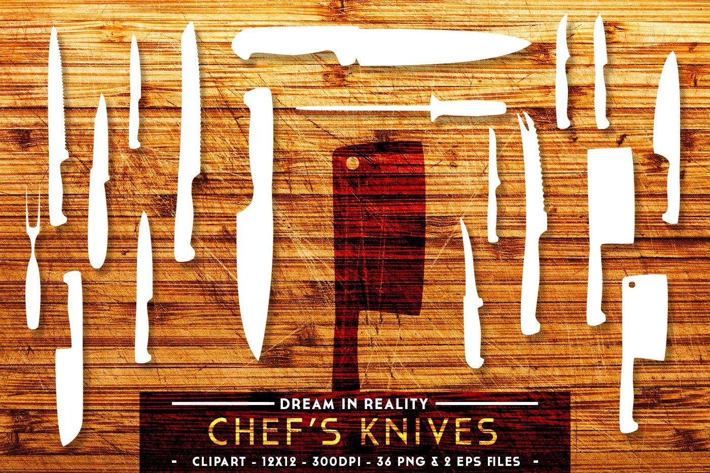 chef 39 s knives knife set vectors objects creative market. Black Bedroom Furniture Sets. Home Design Ideas