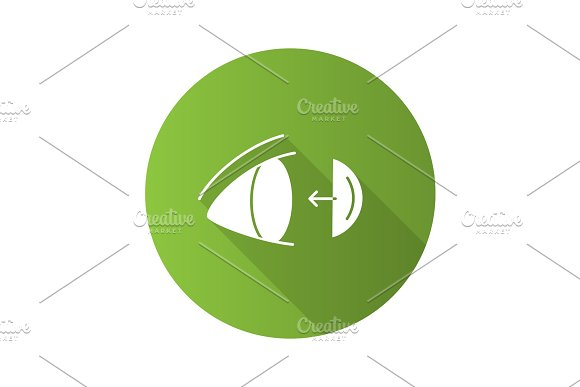 Eye Contact Lenses Putting On Flat Design Long Shadow Glyph Icon