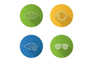 Ophthalmology flat linear long shadow icons set