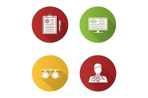 Ophthalmology flat design long shadow glyph icons set