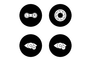 Ophthalmology glyph icons set