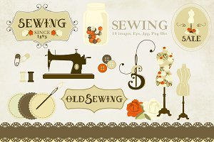 Sewing Clipart. Old Style.