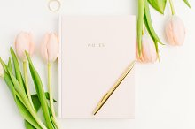 Notebook and tulip flowers by Maksim Liashkovich in Business