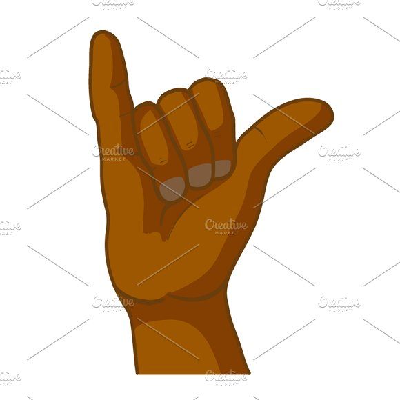 Cartoon Black Hand In Shaka Gesture
