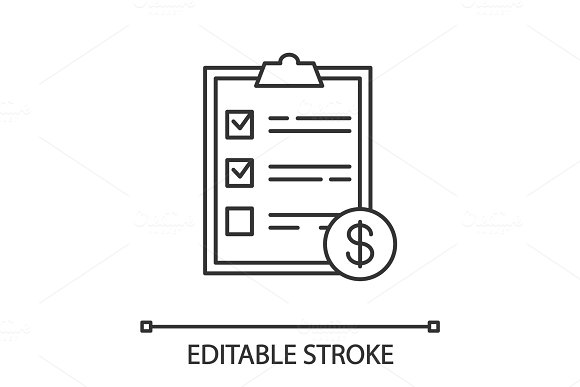 Service List With Dollar Sign Linear Icon