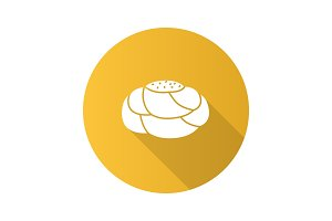 Pastry bread flat design long shadow glyph icon