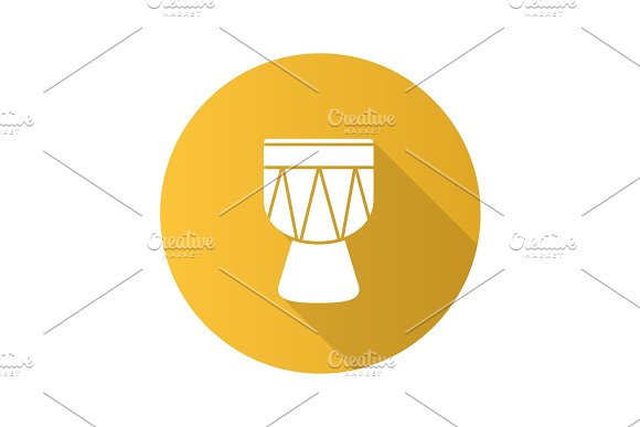 Kendang Flat Design Long Shadow Glyph Icon