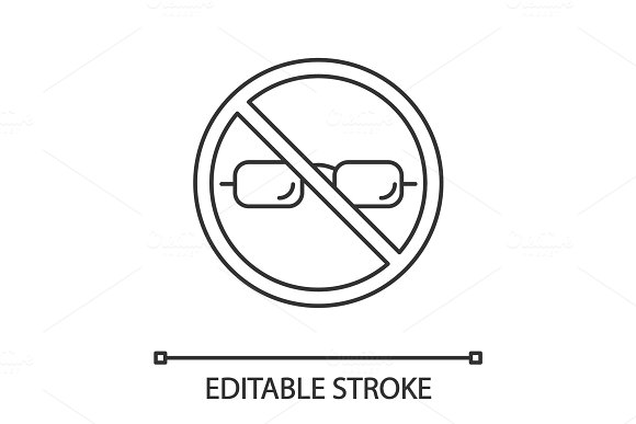Forbidden Sign With Glasses Linear Icon