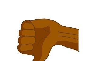 Black hand in thumbs down gesture