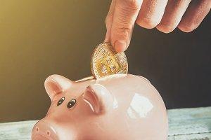 coin box and bitcoin.