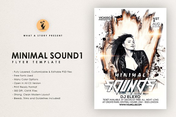 Minimal Sound 1 in Flyer Templates
