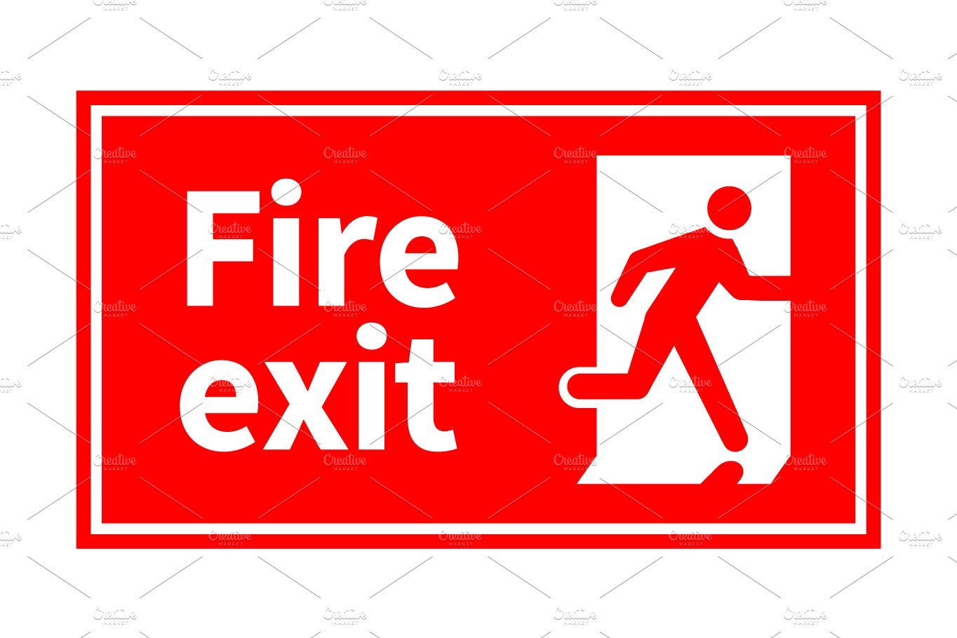 emergency fire exit red sign graphic objects creative. Black Bedroom Furniture Sets. Home Design Ideas