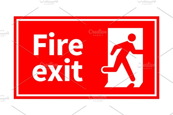 Emergency Fire Exit Red Sign