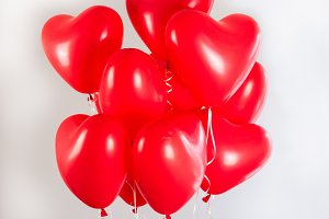 Red balloons in the shape of a heart