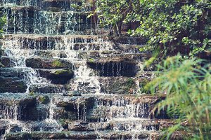 Stepped waterfall and greenery
