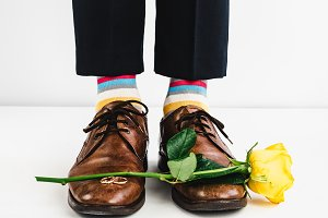 Wedding rings and funny socks