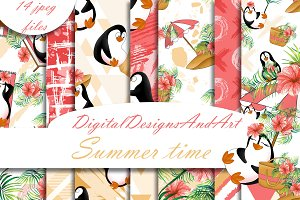 Beach penguins digital paper