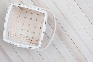 Basket on Wood Table