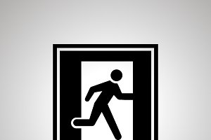 Fire exit pictogram, simple icon