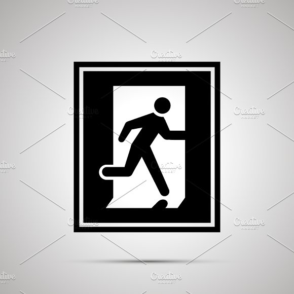 Fire Exit Pictogram Simple Icon