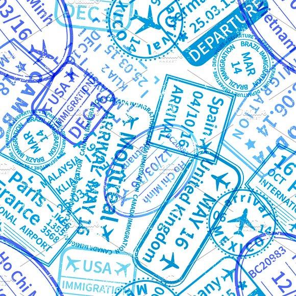 Blue International Travel Visa Stamp
