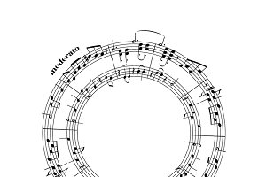 Music notes on stave in round shape