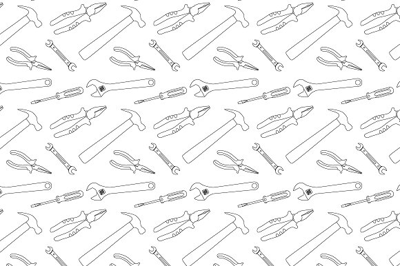 Construction Tools Seamless Pattern