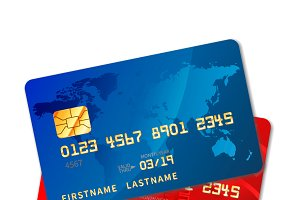 Two bright colourful credit cards