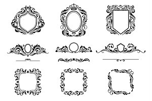 Set of Vintage Decorations Frame Elements. Flourishes Calligraphic Ornaments, Borders and Frames. Retro Style Collection for Boutique, Store, Shop, Restaurant, Hotel and Heraldic Logo. Identity design