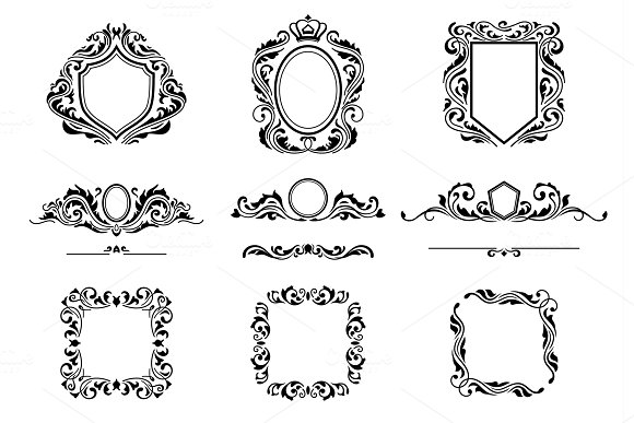 Set Of Vintage Decorations Frame Elements Flourishes Calligraphic Ornaments Borders And Frames Retro Style Collection For Boutique Store Shop Restaurant Hotel And Heraldic Logo Identity Design