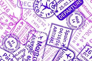 Travel visa rubber stamps imprints