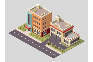 Vector isometric icon or infographic element representing low poly factory building and industrial structures. Building 3d icon