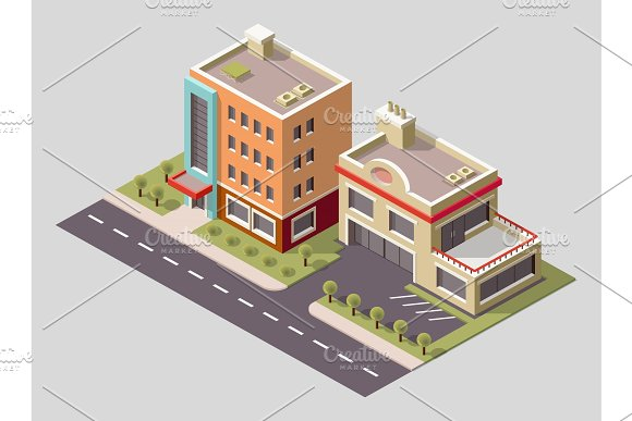 Vector Isometric Icon Or Infographic Element Representing Low Poly Factory Building And Industrial Structures Building 3D Icon